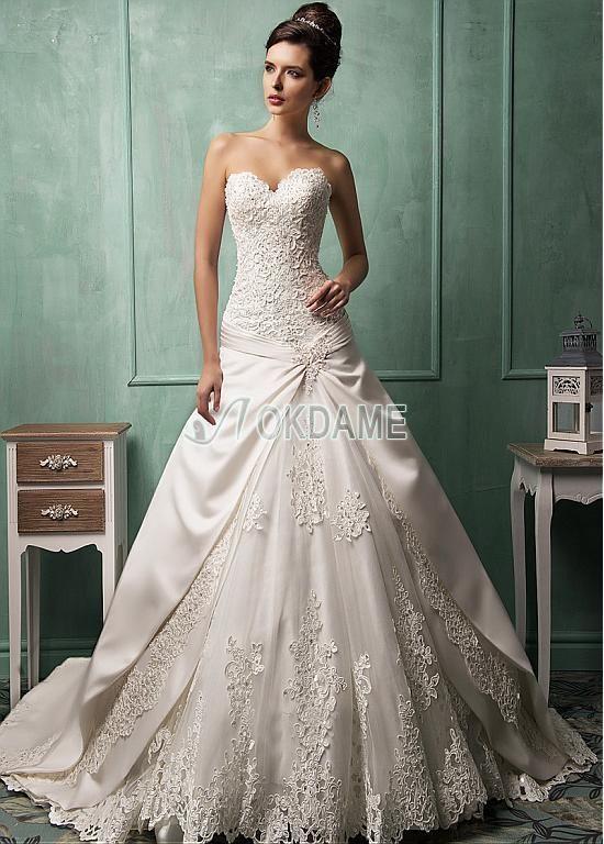 Satin ärmelloses Tüll a linie ausgefallenes lockeres Brautkleid