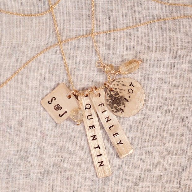 long layering necklace, $125, name necklace, hand stamped jewelry, personalized necklace, gold, fashion #threesistersjewelry
