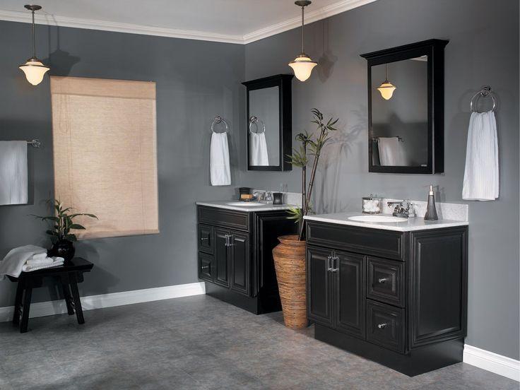 lattice bathroom two door floor cabinet black | Bad farben ...