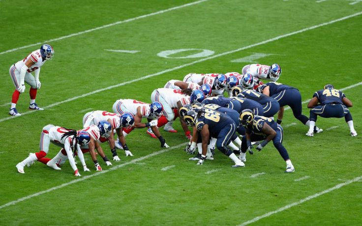 Giants vs. Rams in London:     October 23, 2016  -   17-10, Giants  -  Players line up for a play during an NFL game between the New York Giants and the Los Angeles Rams at Twickenham Stadium in London, Sunday Oct. 23, 2016.