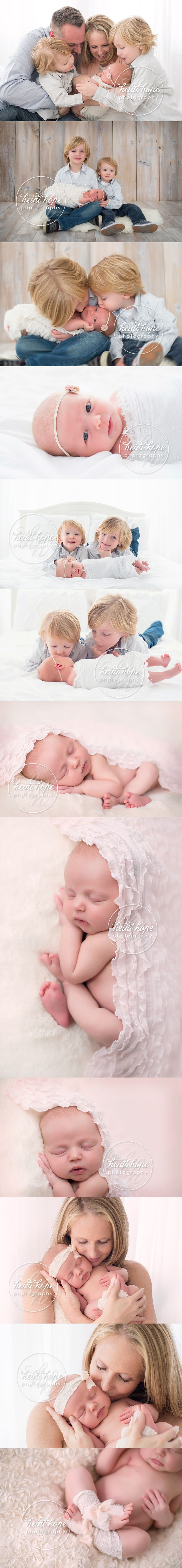 Newborn baby girl in a newborn and sibling family session. #newborn #family #bigbrothers