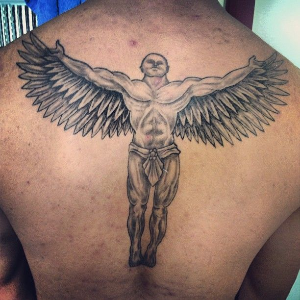 awesome upperback grey ink angel tattoo for men - http://tattooswall.com/awesome-upperback-grey-ink-angel-tattoo-for-men.html #angel, angel tattoos, awesome, for, grey, ink, men, tattoo, upperback