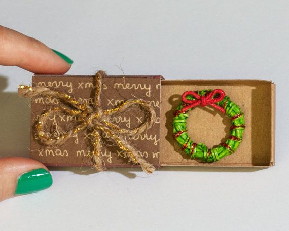 Miniature Wreath Christmas Greeting Card / Cute Christmas Card/ Holiday Card/ New Year Card / 3D Card/ Matchbox/ Personalized Christmas Gift