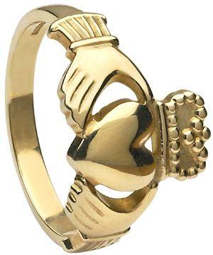IrishJewelryOnline.com: Mens Yellow Gold Heavy Claddagh Ring