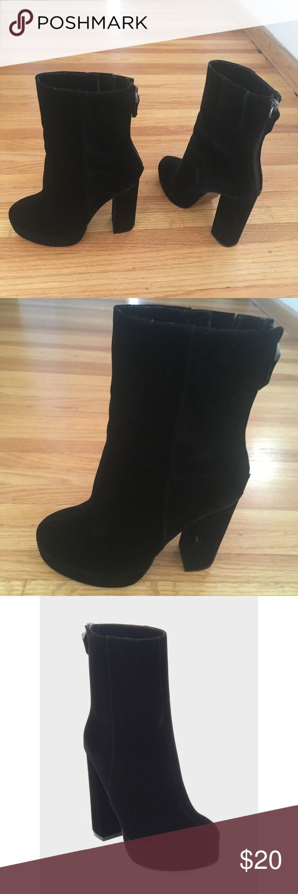 """Black Velvet Platform Boot Gorgeous velvet platform boots had me feeling like David Bowie... swoon. Worn once. Tiny imperfection on heel. 4.7"""" heel... not for the faint of heart. Who What Wear Shoes Ankle Boots & Booties"""