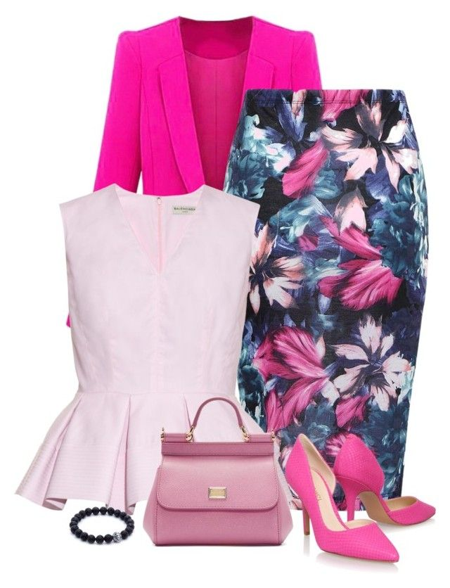 """pink"" by divacrafts ❤ liked on Polyvore featuring Balenciaga, Nine West, Dolce&Gabbana and Original"