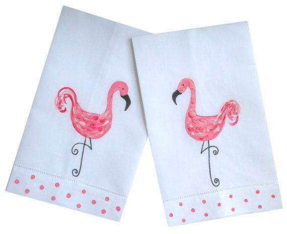 Pink Flamingo Tropical Coastal Beach Linen Guest Towel Set