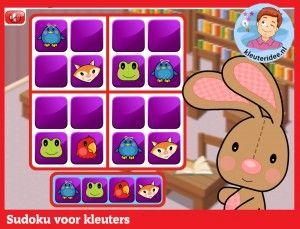 Sudoku voor kleuters op digibord of computer op kleuteridee.nl.