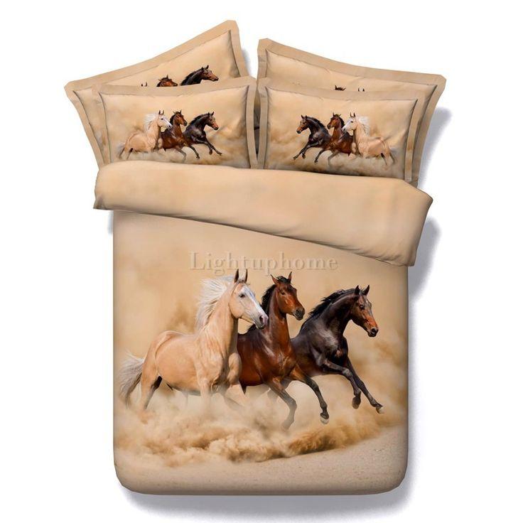 Three Running Horses Printing Brown  Duvet Cover Bedding Sets