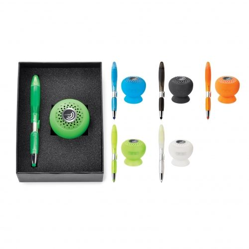 2-Piece Gift Set includes GECKO wireless water-resistant speaker and BLOSSOM stylus pen highlighter