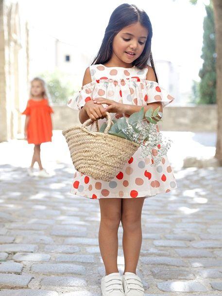 Vestido para niña con hombros descubiertos - BLANCO CLARO ESTAMPADO+NARANJA  FUERTE LISO - 1 2de5de0c6063