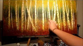 How To Paint An Aspen Forest In The Fall With Liquitex Acrylics On Canvas Complete Lesson - YouTube