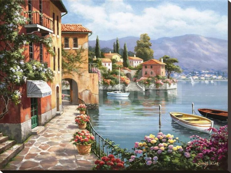 Villa de Lago Stretched Canvas Print by Sung Kim at Art.com