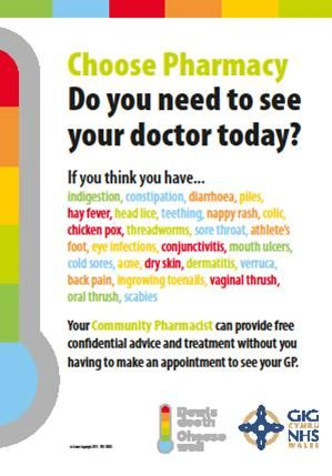 Visit your local chemist when you are suffering from a common health problem which does not require being seen by a nurse or doctor.