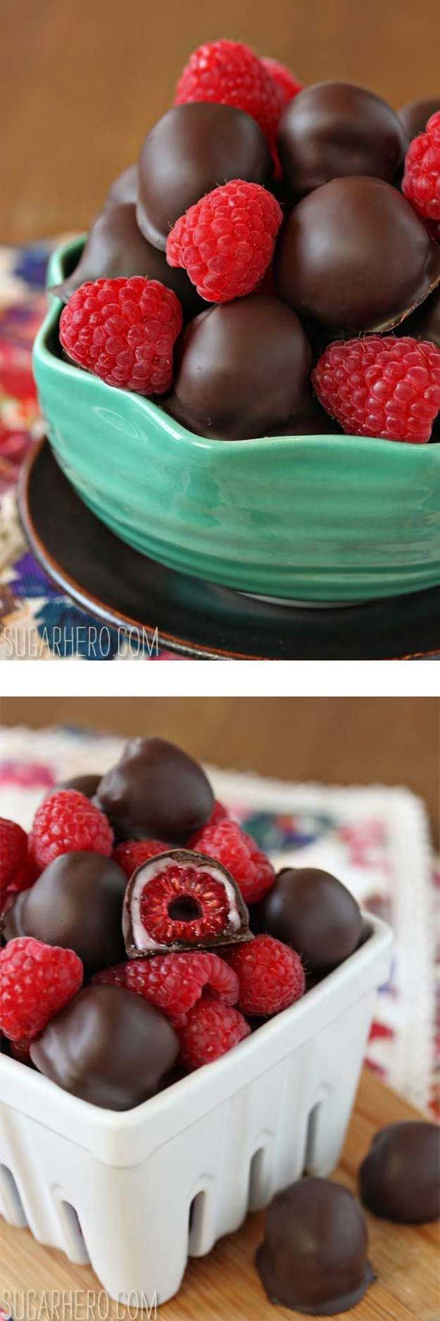 Healthy Desserts To Try Tonight - Chocolate-Covered Raspberry - Easy And Yummy DIY Health Desserts Under 100 Calories To Try Tonight. No Bake Desserts From Scratch You Can Make In A Mug With No Sugar And Easy To Eat Clean. Recipes For Chocolate Desserts F