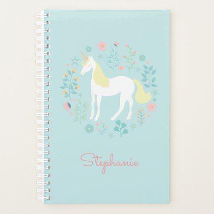 Pretty Unicorn & Flowers Aqua Personalized Planner - floral style flower flowers stylish diy personalize