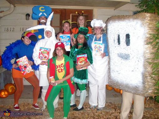 Jessica: For the cereal characters: Trix: all white costume. I took regular rabbit ears and extended them with sewed white sweatshirt material and stuffed them. The underwire made it easy to...