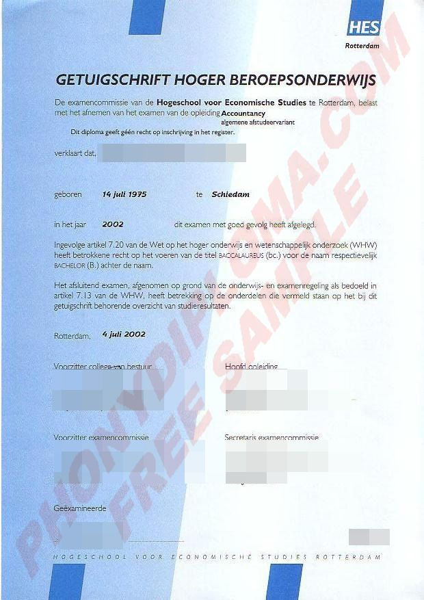 Getuigschrift Hoger Beroepsonderwijs Fake Netherlands University Diploma from PhonyDiploma - http://www.phonydiploma.com/Departments/Samples/Fake-Diploma-Samples-from-Netherlands.aspx