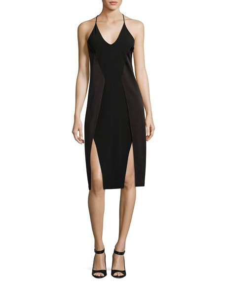 18edf44ed31c HALSTON HERITAGE Sleeveless V-Neck Satin Slip Dress, Black. #halstonheritage  #cloth #