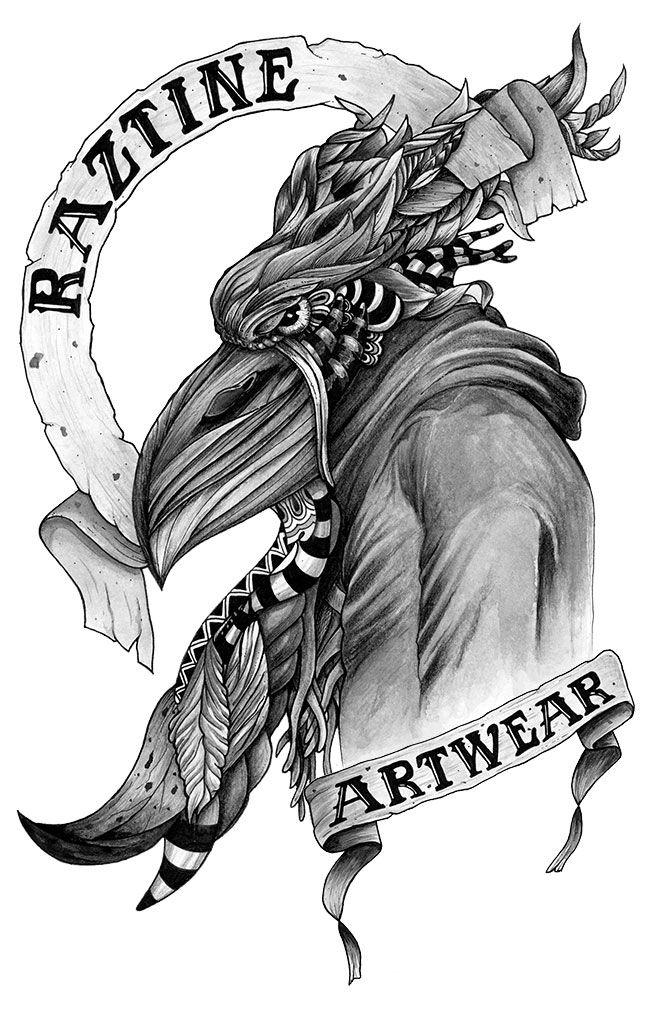 Raztine T-shirt, white, ink, watercolor, artwear, urban, dark