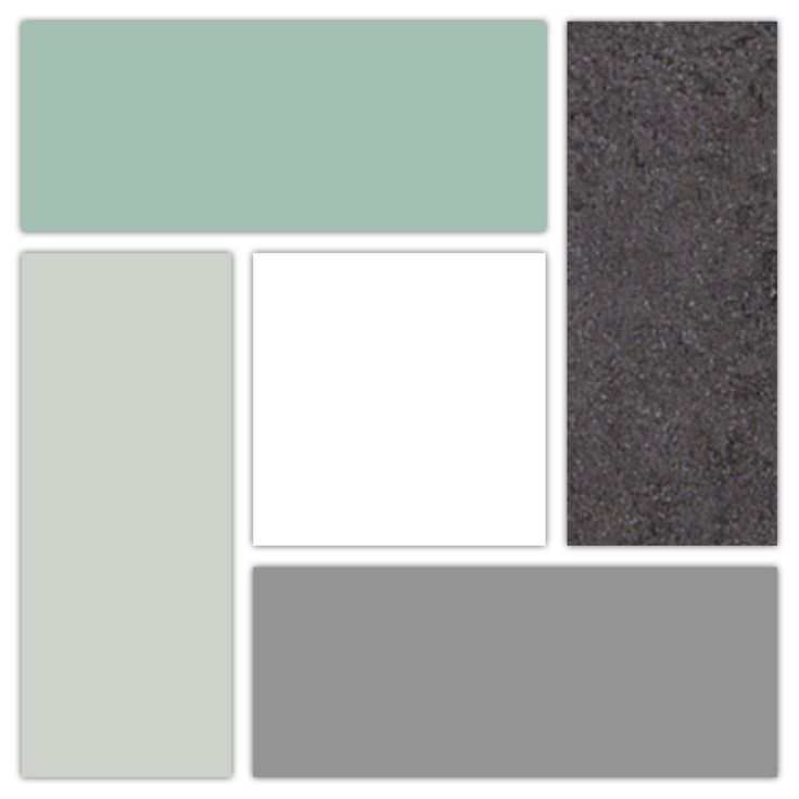 My Kitchen Colors :) Top: Sherwin Williams Hazel for walls | Left: Sherwin Williams Sea Salt for walls | Bottom: Sherwin Williams Gray Shingle for bottom cabinets | Right: WilsonArt Salentina Nero Laminate for countertops | Center: custom white to match Allen + Roth subway tiles for upper cabinets & trim