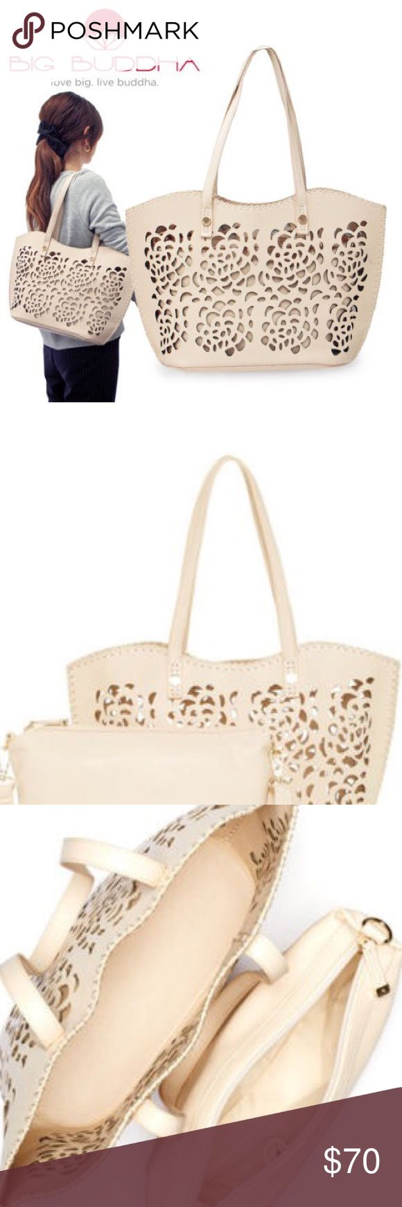 """NWT Big Buddha JLILIANN Bag Ivory Floral Laser Cut This is for New with Tag, Big Buddha JLILIANN Bag, Vegan Leather Floral Perforated 2 in 1 bag with Ivory color. Floral laser cut out detailed, size is about 16.5""""x 11""""x5"""". Comes from pet free/smoke free clean home! Thanks for looking, have a great day! Big Buddha Bags Totes"""