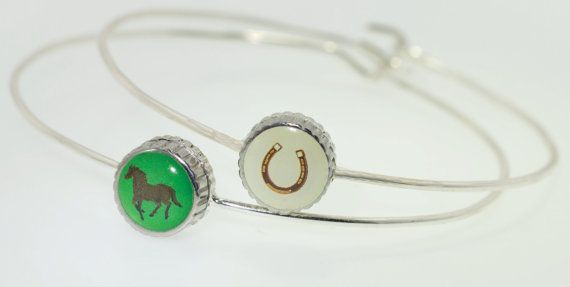 Horse charm silver wire bangle horseshoe charm by SweetieTops, $9.95