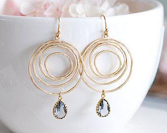 Grijs glas goud Swirl Hoop Earrings, Gray Black Diamond gouden cirkel Boho Chic Boheemse bengelen oorbellen van ebben hout kroonluchter oorbellen