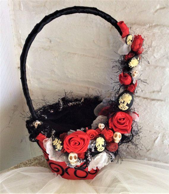 Gothic Wedding Flower Basket Flower Girls Basket For Wedding Theme Wedding Skull  Wedding