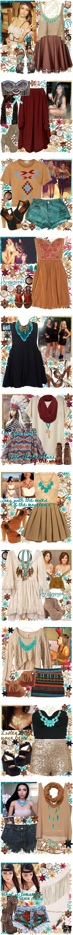 """Pocahontas Inspired Sets"" by elaine-elizabethxo ❤ liked on Polyvore"