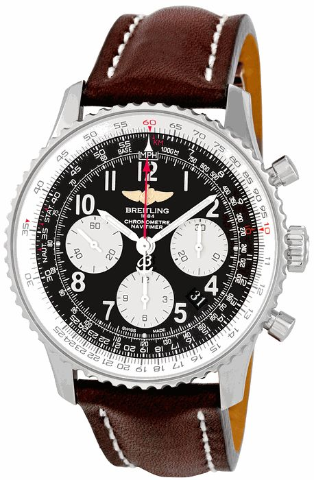 Breitling Navitimer 01 Stainless Steel Leather Automatic Mens Watch AB012012-BB02BRLD