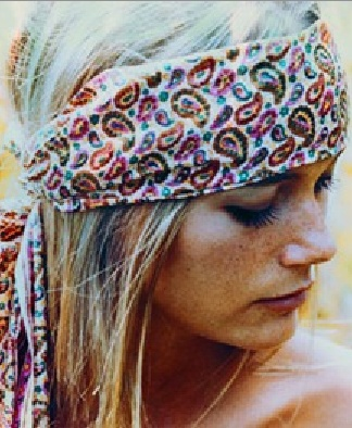 Peggy Lipton. Paisley headband sash.