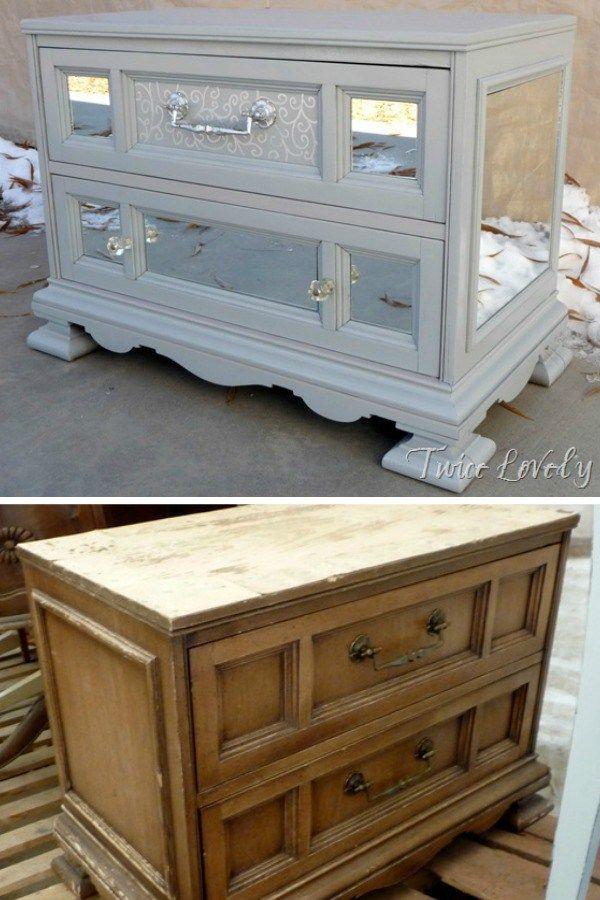 Mirrored Chest Furniture Makeover Diy Refurbished Furniture