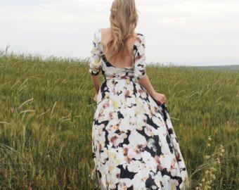 Floral Silky Chiffon-Maxikleid mit Schaufel zurück Brautjungfer Kleid Hochzeit Generalprobe Abendessen rustikale Minikleid