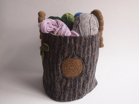 Floor bag, Large storage bag, waldorf toy, all natural toy, tree stump bag