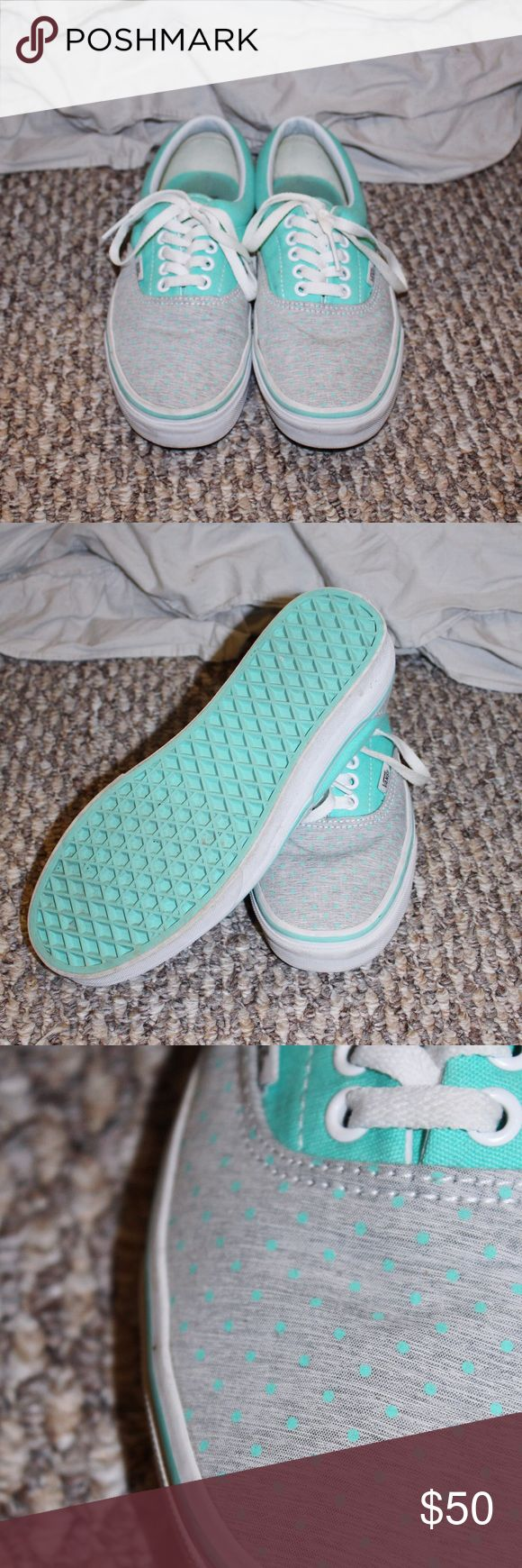 💙 Turquoise and gray Vans 💙 Super cute turquoise and gray Vans looking for a good home! | Womens size 8 | Only worn a couple times | No damage | 🎉 Feel free to make an offer 🎉 ‼️ Consider bundling 2+ items from my closet to get a discount ‼️ Vans Shoes Sneakers