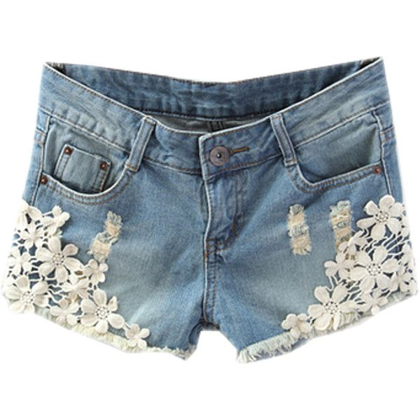 Choies Blue Denim Shorts With Lace Hem (195 MAD) ❤ liked on Polyvore featuring shorts, bottoms, pants, short, blue, lace shorts, denim short shorts, short shorts, lacy shorts and lace jean shorts