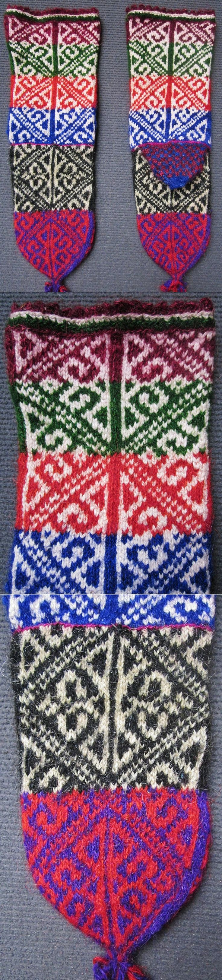 Traditional hand-knitted woollen stockings, for men.   From the Konya province.  Late 20th century.  The composite pattern shows 'koçboynuzu' (= 'ram's horn', which symbolises male fertility, male power and heroism) inside diamond-shaped 'ayna' (mirror), which is an amulet against the evil eye.   (Inv.nr. çor016 - Kavak Costume Collection - Antwerpen/Belgium).