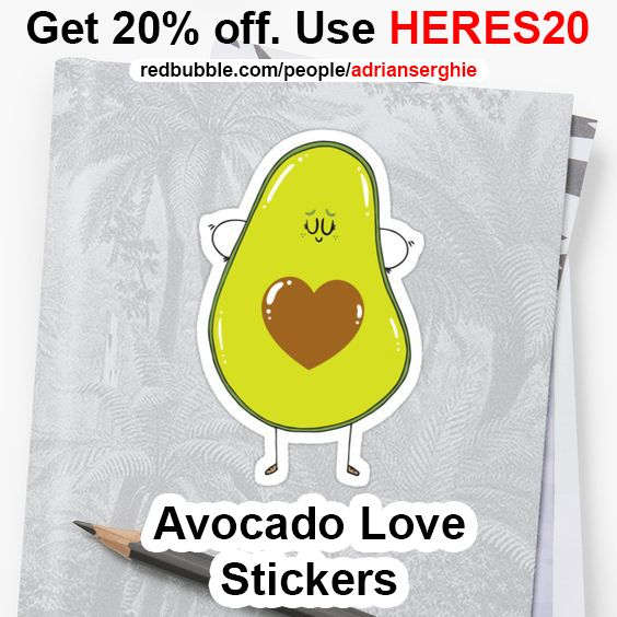 Avocado Love STICKERS Buy from http://rdbl.co/2qujCCt Get 20% off. Use HERES20