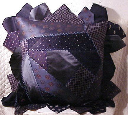 Upcycled and Recycled Men's Neckties crazy quilt style pillow