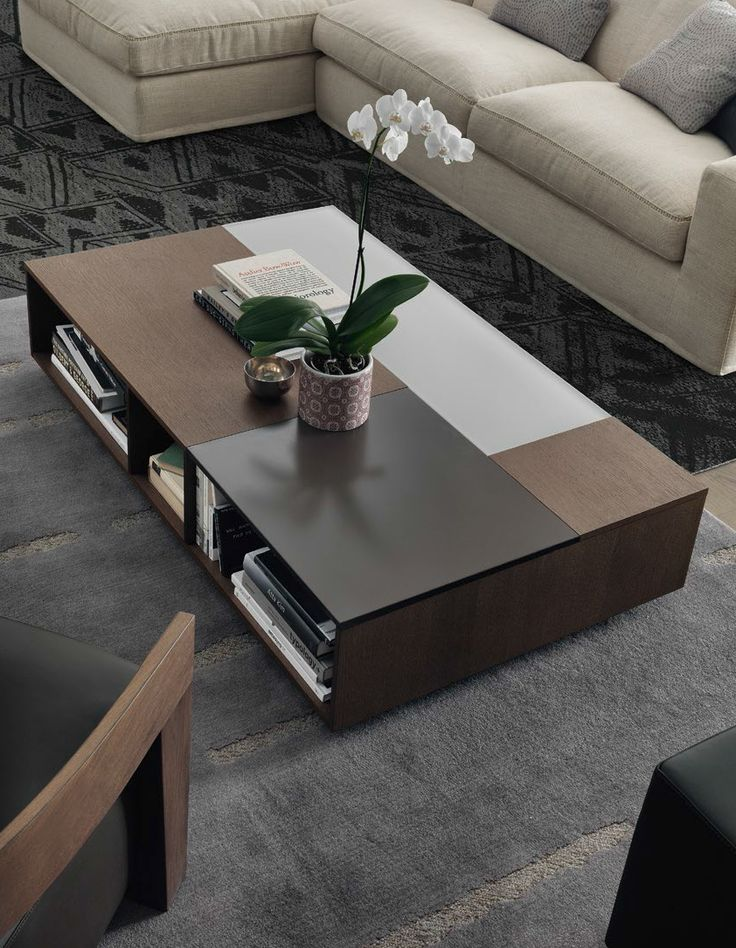 Coffee table with color block top and lots of storage