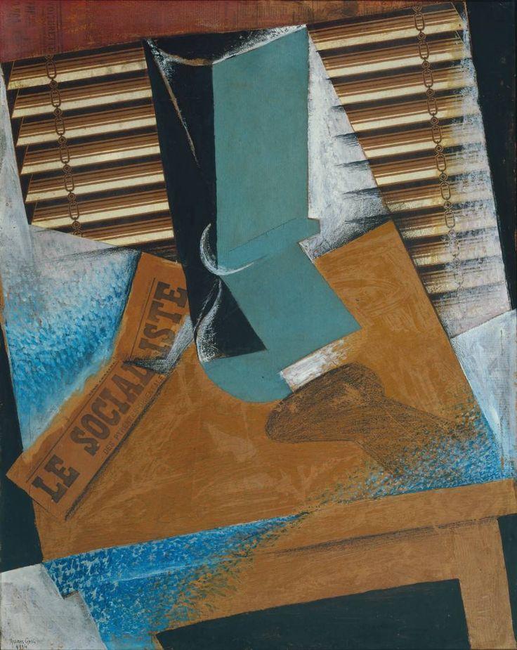 Juan Gris The Sunblind 1914, Dit is een collage waarbij de kunstenaar met knippen, scheuren en plakken dit werk gemaakt heeft. De verschijningsvorm heet collage.