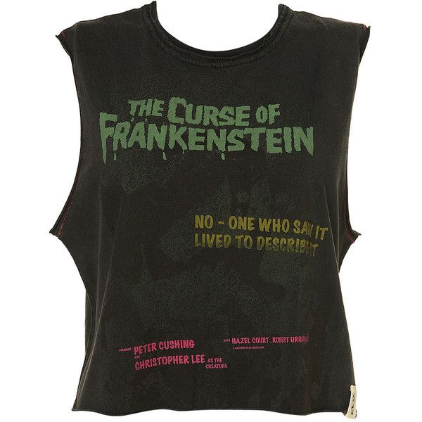 Frankenstein Crop Top ($24) ❤ liked on Polyvore featuring tops, shirts, crop tops, tank tops, crop, cropped tops, cotton crop top, crop shirt and cotton shirts