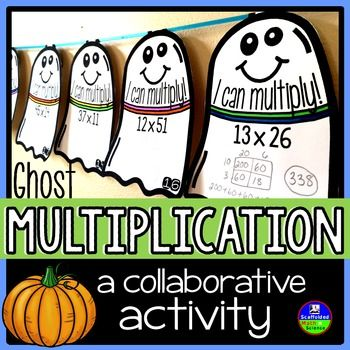 """2-digit multiplication. In this collaborative activity students multiply 2-digit numbers by 2-digit numbers. Each pennant is in the shape of a ghost to add to your Halloween classroom decor. The multiplication problems on each pennant vary in difficulty allowing you to differentiate.Once a pennant is complete, it can be hung along a string in your classroom to show the world that, """"Hey, we know how to multiply!""""Included are 30 pennants, an optional student answer sheet and an answer key."""