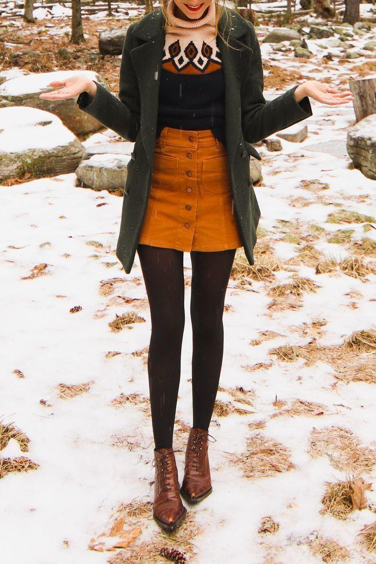 Snowy Winter Look – #jupe #Snowy #Winter