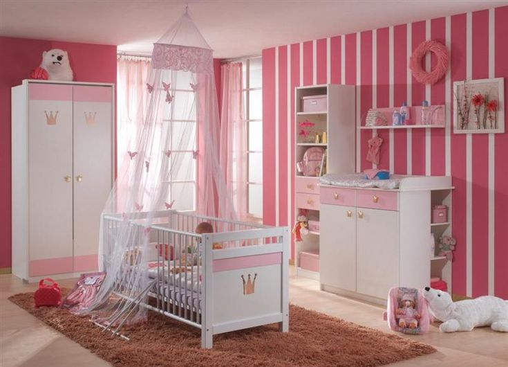 Cute Design For Girls Baby Rooms With Pink Stripes Painted ~  Http://lanewstalk Part 34