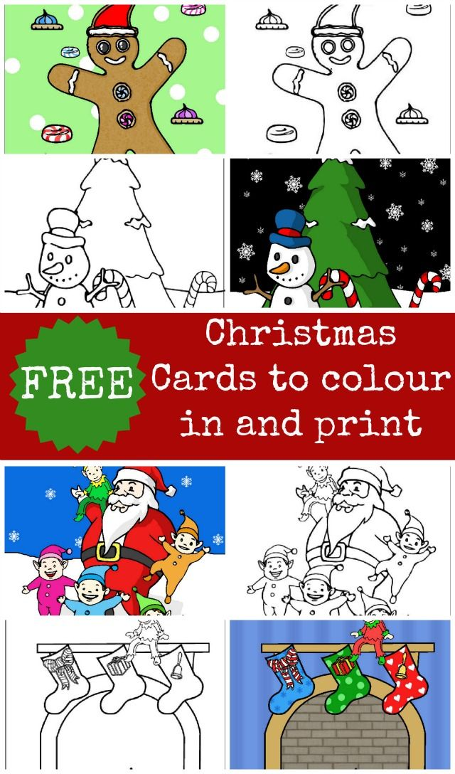 Four christmas card designs for your kids to colour in and give to whomever they want. There is bound to be one of our four designs that they like and want to give to someone special for Christmas.