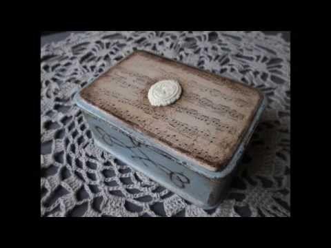 Шкатулка в стиле шебби-шик. Состаривание без кракелюра - YouTube
