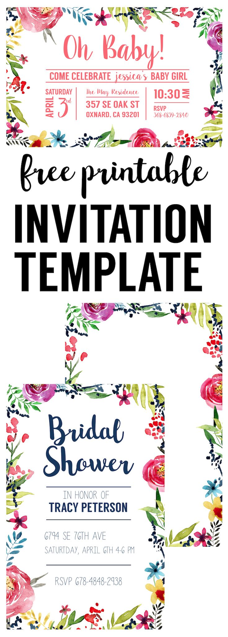 Floral Borders Invitations, Free Printable Invitation Templates. Great DIY watercolor flower invitation template for birthday party, bridal or baby shower.