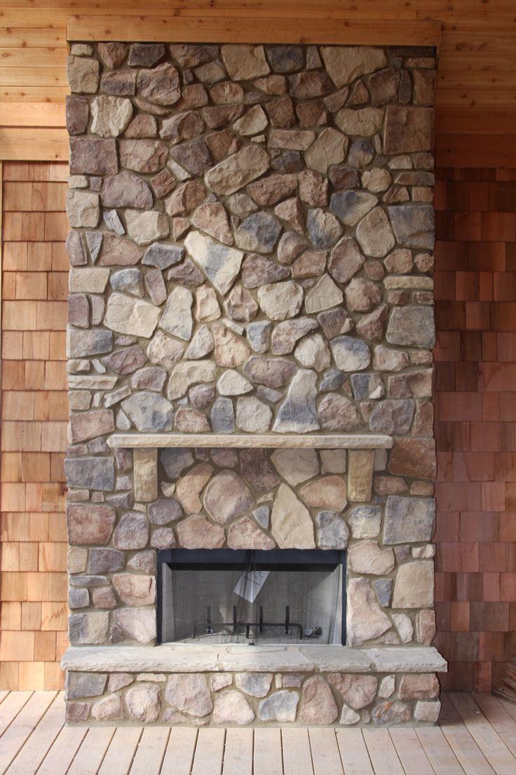 Cedar creek fieldstone outdoor fireplace native custom for Field stone fireplace
